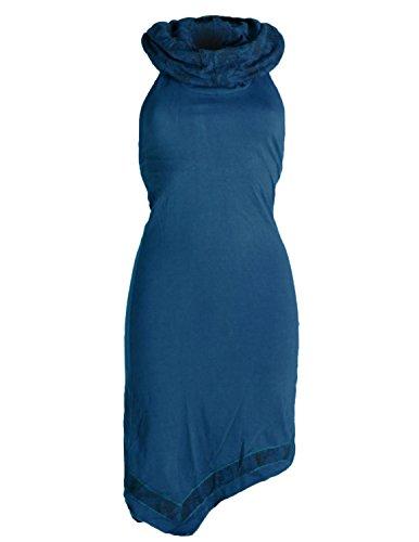 Vishes - Alternative Bekleidung - Neckholder Zipfelkleid mit Kapuzenkragen aus Baumwolle türkis 34 -