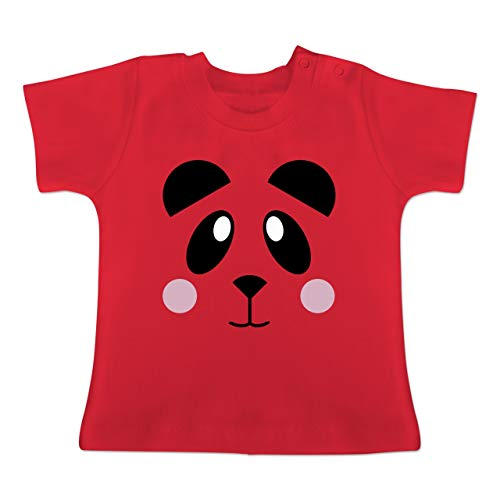 Tiermotive Baby - Panda Shirt süß - 1-3 Monate - Rot - BZ02 - Baby T-Shirt Kurzarm