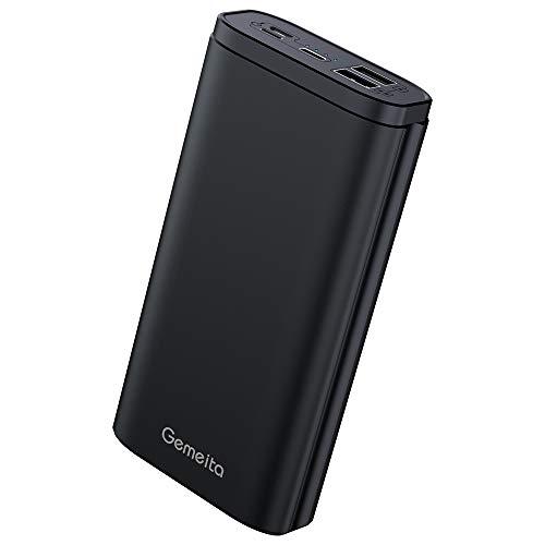 Gemeita power bank caricabatterie portatile 20000mah batteria esterna con micro usb/type c e altro 3 ingressi e 2 uscite per samsung huawei sony e altro-nero