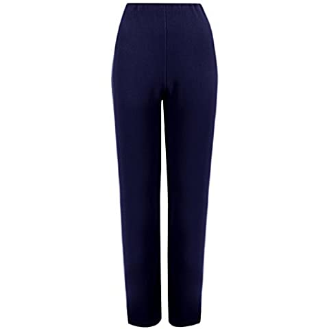MyShoeStore® LADIES STRAIGHT LEG TROUSERS WOMENS FINELY SOFT RIBBED STRETCH PULL ON PANTS OFFICE NURSE CARER WORK WEAR CARER CASUAL FULL ELASTICATED WAIST BOTTOMS PLUS BIG SIZE 8-26