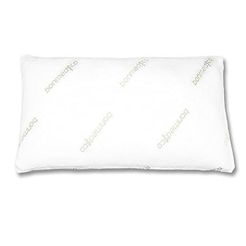 Bonmedico® Pillow Dream, hartes orthopädisches Nacken-Stützkissen mit optimalen Härtegrad, mit für Allergiker geeignetem Milbenschutz-Bezug aus Bambus, passend für 40x80 cm