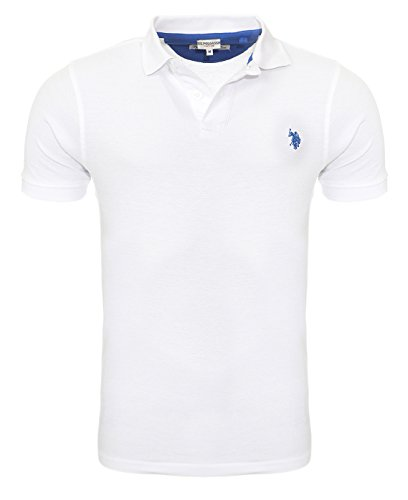 U.S. Polo Assn. Shirt Herren Poloshirt Polohemd Baumwoll Hemd in Verschiedenen Farben Weiß