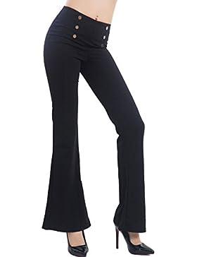 Toocool - Pantaloni donna vita alta bottoni campana flare zampa elefante eleganti F2209
