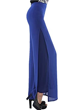 Women Ladies Vintage Loose High Waist Long Trousers Chiffon Side Split Casual Palazzo pantaloni gamba larga (Size...