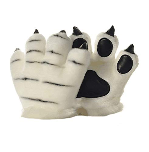LANFIRE Flauschige künstliche Tiger und Dinosaurier Paw Handschuhe, Stirnband und Schwanz Kostüme Cosplay Tiger oder Dinosaurier Party Kostüm für Kinder (White tiger gloves)