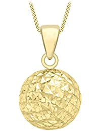 Carissima Gold Damen-Kette mit Anhänger 9ct 10mm Diamond Cut Ball Pendant on 25PG