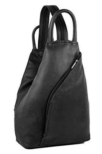 DEVRAKH Rucksack-handtasche Damen Umhängetasche Schultertasche Cityrucksack Echtleder Nappa-Leder zweifarbig (Schwarz)
