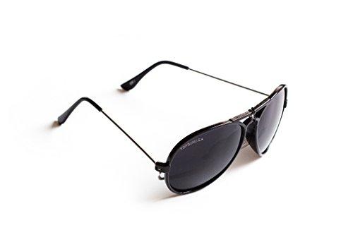 Piloten-Brille Sonnen-Brille Kinder Jugendliche Flieger-Brille Schwarz getönt UV-Schutz 400 ca. 12,5 cm Breit Herren Damen Unisex Cosplay Trend-Brille Nerd-Brille Geek-Brille
