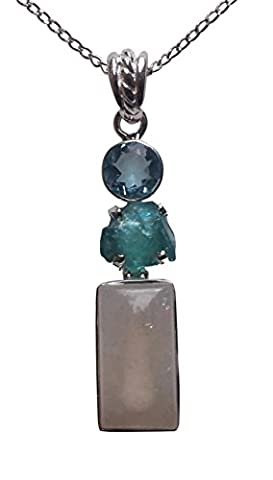 SteSterling Silver 925 Blue Topaz, Aquamarine And Moonstone Pendant Necklace