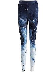 VORCOOL 1pc Star Sky Gradient Printing Women Sports Pantalones de Yoga de Cintura Alta Leggings elásticos Apretados Fitness Gym Sports Medias (XL)