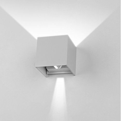 Preisvergleich Produktbild K-Bright 12W Wandleuchte IP65 Wandlampe,3.9X3.9X3.9 Zoll,Wandbeleuchtung aus Aluminium,grau,6000K
