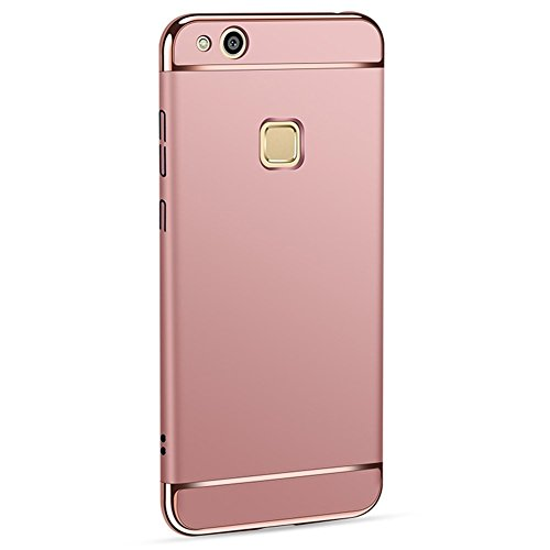 Huawei P10 lite Cover+ Pellicola Vetro Temperato 3 in 1 Ultra-thin 360 Full Body Ultra-thin Anti-Scratch Shockproof Hard PC Non-Slip Custodia with Electroplate Bumper for Huawei P10 lite (Oro rosa)