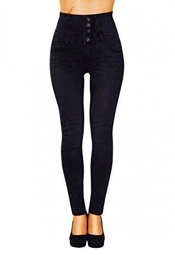 Damen Jeans Hose Skinny Corsage High Waist Jeanshose Hochbund Röhrenjeans (617), Grösse:XXL, Farbe:Schwarz (Schwarze Skinny Jeans Größe 12)