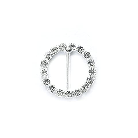 Set of 25 Diamante Rhinestone Circle Crystal Diamond Buckle Slider Embellishments for Ribbons Party Invitations Wedding Cards or Letters Fashion Accessories - 23mm (approx) - Diamante Del Nastro Scorrevole