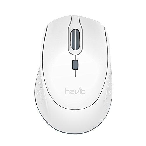 HAVIT Ratón Inalámbrico Mouse 2.4G Raton Inalámbrico Portatil 2000DPI con receptor USB, Raton para PC, Ordenador Portátil, Notebook, Blanco
