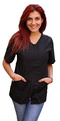 Petersabitidalavoro camici da lavoro, donna, con zip, nero, estetista, parrucchiera,cuoca,made in italy (l, nero)