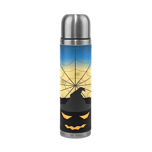 Thermosflasche für Kinder, Halloween, Kürbisbaum, doppelwandig, Edelstahl, Vakuumbecher, Isolierbecher für Kaffee, Reisen, 17 oz