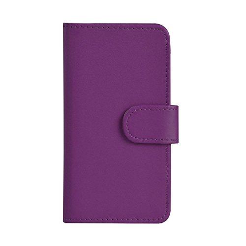 Apple iPhone 5C Premium Leather Blanc Wallet Retournez Protecteur Ecran Housse Pouch + rétractable tactile Stylet + & Chiffon PAR SHUKAN®, (BLANC) Violet Foncé