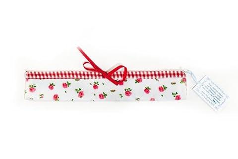 Rangement pour brosses à dents / Etui pour brosses à dents « Blümchen & Karo » - fleurs et diamant – en coton avec paroi intérieure en plastique du label allemand Ringelsuse (rouge)