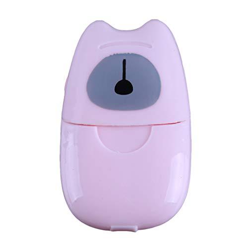 Rosa Schäumende Seife (NYAOLE Mini Travel Waschendes Handbad Reise Duftfolien Schäumende Box Seife Aufbewahrungsbox, Rosa)