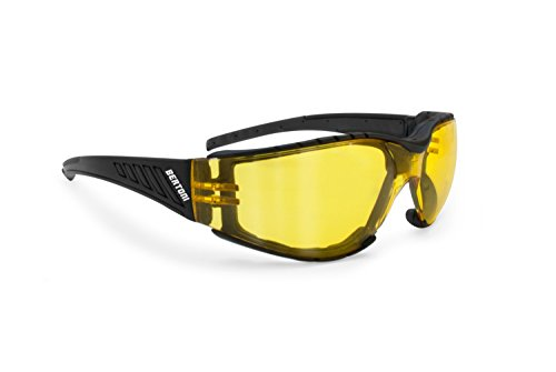 Gafas para moto–Lente irrompible no se empaña–Interno extraíble–by Bertoni , Hombre mujer, nero gomma / lente giallo specchio, medium large