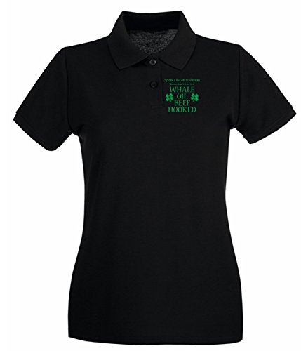 Cotton Island - Polo pour femme TIR0198 speak like an irishman tshirt Noir