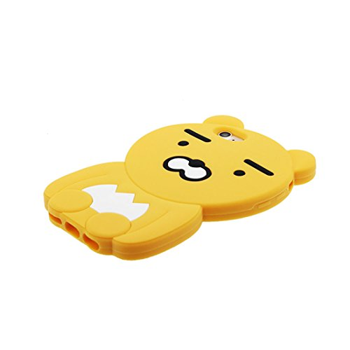 "iPhone 6 Coque, iPhone 6S Étui Cover Housse pour iPhone 6s 4.7 "" Cartoon 3D Pêche Chatting Expression TPU Gel TPU Shell iPhone 6 Case (4.7"") Résistant à la poussière Scratch & ring Support jaune"