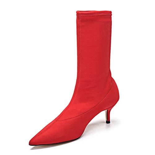 JRenok Damen Socken Stiefel Stretch-Stoff Highheels auf Mitte Kalb Schuhe schlüpfen wies Fuß Knöchel Stiefel Herbst Winter Stilettos