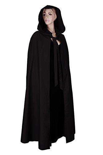 Mittelalterlicher Kapuzenumhang mit langer Gugel – schwarz - 2