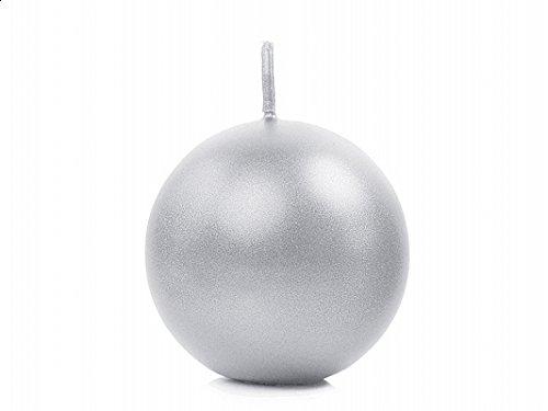 10 Candele rotonde sferiche ARGENTO metallico 6 cm CANDELA NATALE rotonda sferica