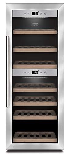 2 Teil-formel (CASO WineComfort 38 Design Weinkühlschrank für bis zu 38 Flaschen (bis zu 310 mm Höhe), zwei Temperaturzonen 5-20°C, Getränkekühlschrank, Energieklasse A)