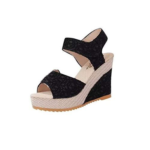 WRF Slope Fish Mouth Sandals Wasserdichte Plattform Damenschuhe (Farbe : SCHWARZ, größe : 36 2/3 EU) Black Satin Bow Sandals
