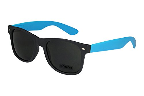 X-CRUZE® 8-070 X23 Nerd Sonnenbrille Style Stil Retro Vintage Retro Unisex Herren Damen Männer Frauen Brille Nerdbrille - schwarz matt/hellblau matt