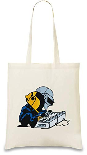 Daft Punk Dachte Nüsse - Daft Nuts Custom Printed Tote Bag| 100% Soft Cotton| Natural Color & Eco-Friendly| Unique, Re-Usable & Stylish Handbag For Every Day Use| Custom Shoulder Bags By