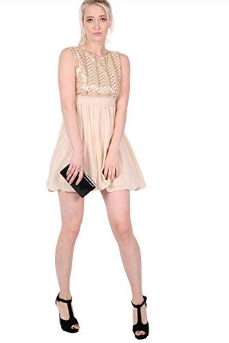 PILOT® Chiffon Pailletten Mix Kleid in nude nackt