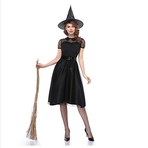 TUWEN Halloween Schwarze Hexe Outfit Hexe Kleid Hexe Nacht Spiel KostüM BüHne Leistung GeisterkostüM Temperament - Schwarze Krepp-kleid