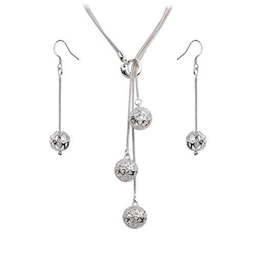 Halskette Kreuz Dünne (Styleziel Damen Schmuckset Halskette Ohrhänger skelettierte Kugeln 925 Silber pl 46cm lang 1572)