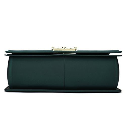 Bella Positano Damen Gesteppte Schultertasche Handtasche Damentaschen in mattem mit Kettenriemen Plus Grün