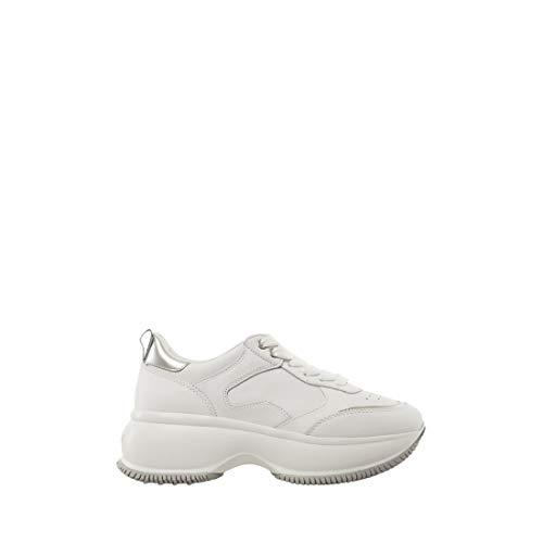 Hogan Scarpe Donna Sneakers Basse con Platform HXW4350BN50IEC0351 Maxi Taglia 35 Bianco-Argento