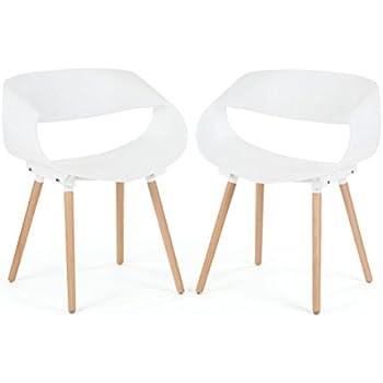 Makika Chaise de Design Siège de Bureau Salle à Manger Salon Style Rembourrée avec Pieds bois moderne unique Scandinave Ensemble de Chaises MAYA Ensemble de 2 en Blanc