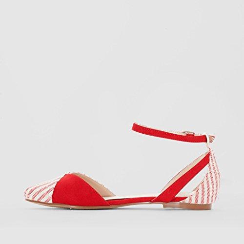 ... R Edition Frau Gestreifte Ballerinas Rot ...