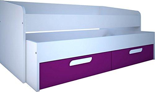 Trasman BO1 Kompaktbett 190 cm, 2 Betten, 2 Schubladen, melaminharzbeschichtete Holzspanplatten, weiß / fuchsie, Twin-Bed, 202 x 96 x 90 cm (Schubladen Twin-betten)