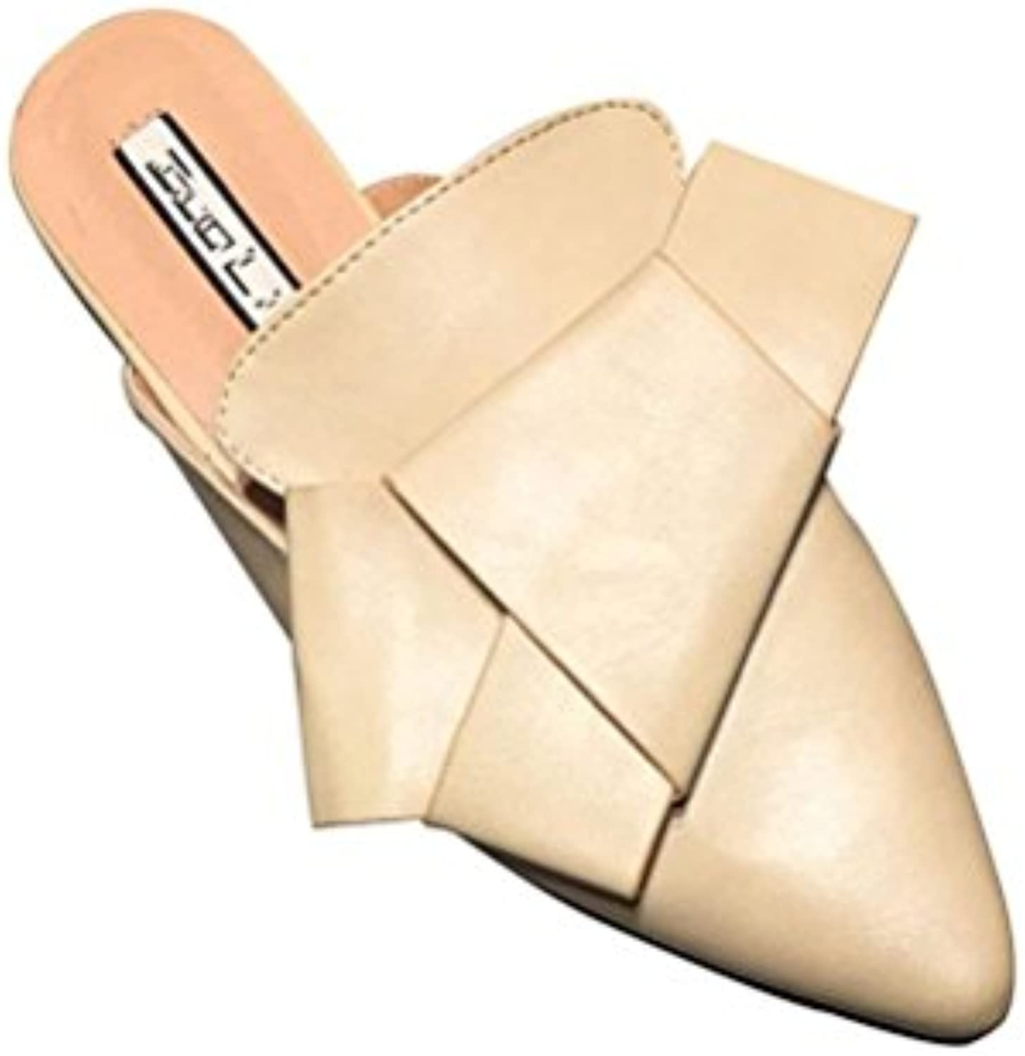 XUEXZIX Ladies Flip Flop Flat Heel Heel Heel Pointed Bowknot Casual Walking Outside Half Drag, 39 | La Qualità Del Prodotto