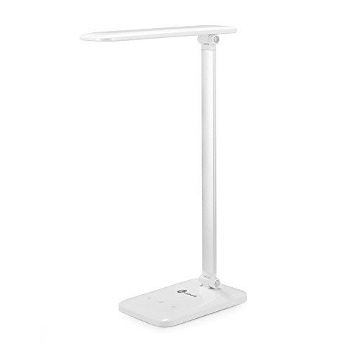 TaoTronics LED Tischlampe 3 Helligkeitsstufen dimmbar 180° faltbar mit Nachtlicht-Funktion Weiß