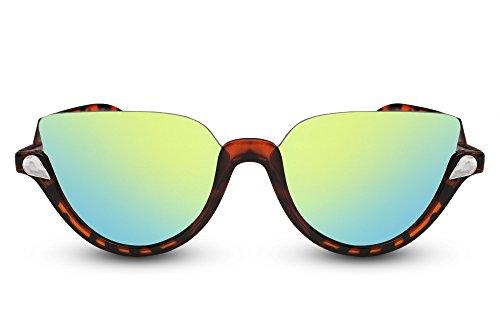 Cheapass Sonnenbrille Rund Schwarz Braun Verspiegelt Designer-Brille Modisches Gestell UV-400 Hipster Damen Herren