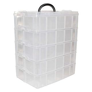Boîte Rangement Plastique 5 Étages - H 29,5 x L 24 x l 15cm Boites Empilables Transparent avec 50 Compartiments Amovibles et Poignée Organisation pour Perles, Bijoux, Maquillage, Couture, Bricolage