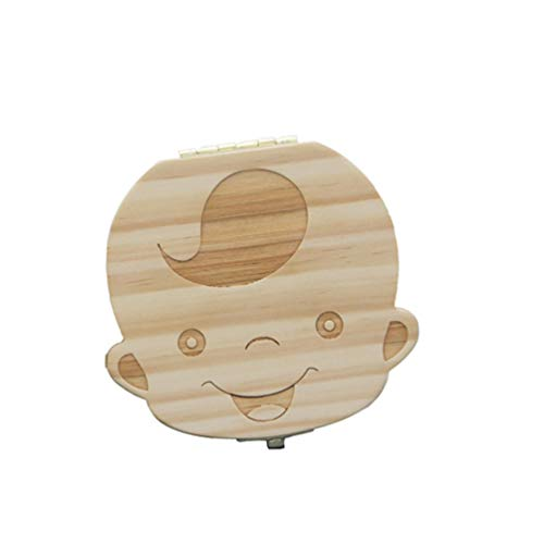Niocase Boîte à Dents de Bébé Organisateur en Bois Contenant de Souvenir Écologique Sympathique Mignon pour Bébé Dents à Feuilles Caduques - GarçOn