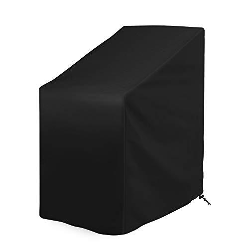 Kany Gartenstuhl Abdeckung, Oxford Polyester Schutzhülle für Gartenstühle und Balkonstühle Wind- und Wetterfest Das ganze Jahr (65x65x80/120cm) - Schwarz