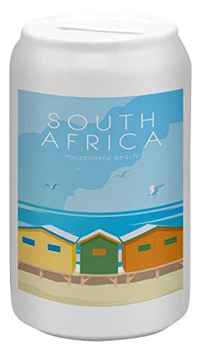 LEotiE SINCE 2004 Spardose Sparbüchse Geld-Dose Wiederverschließbar Farbe Weiß Welt Reise Südafrika Keramik Bedruckt