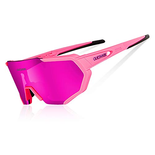 Queshark Radbrille Polarisierte Sportbrille Fahrradbrille mit UV-Schutz 3 Wechselgläser für Herren Damen, für Outdooraktivitäten wie Radfahren Laufen Klettern Autofahren Angeln Golf (Rosa)